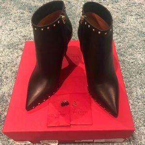 Valentino Black Rockstud Ankle Boots Size 37
